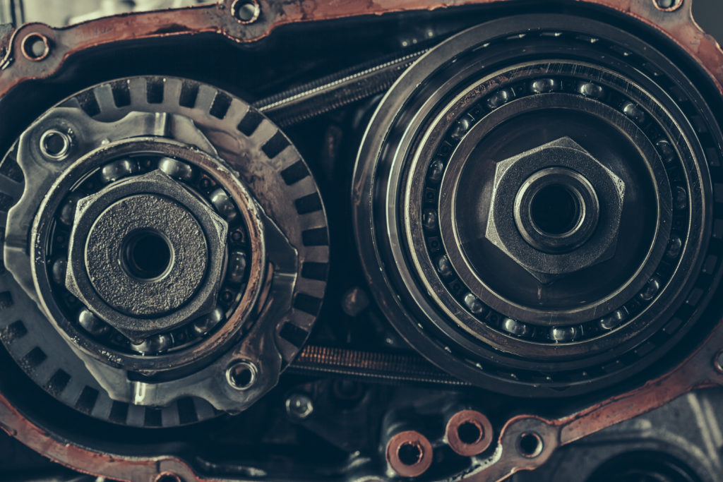 Continuously variable transmission gearbox repair closeup. Stock Photo.